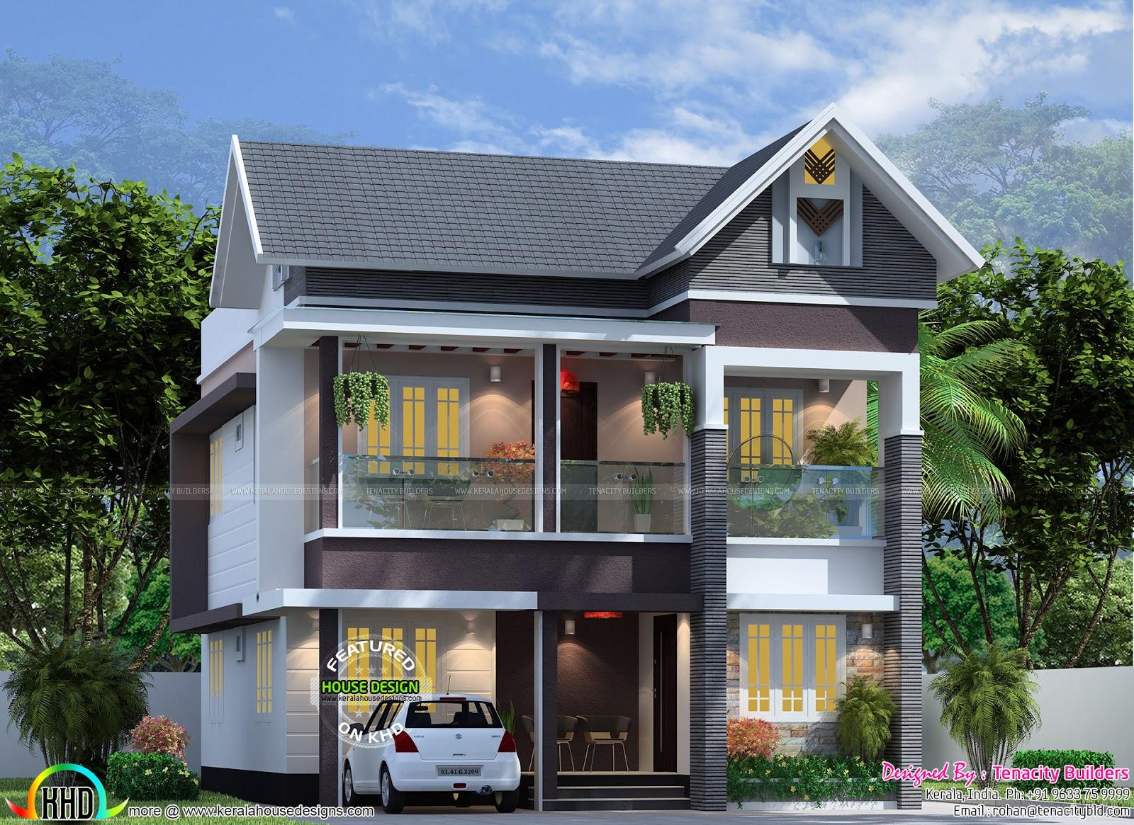Front Elevation Sloped Roof : Bedroom sq ft modern sloped roof home kerala