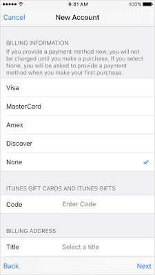 Selecting None for payment option to create an Apple ID account without credit card