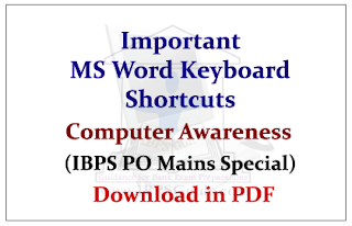Computer Awareness- Important MS Word Keyboard Shortcuts (IBPS PO Mains Special) Download in PDF