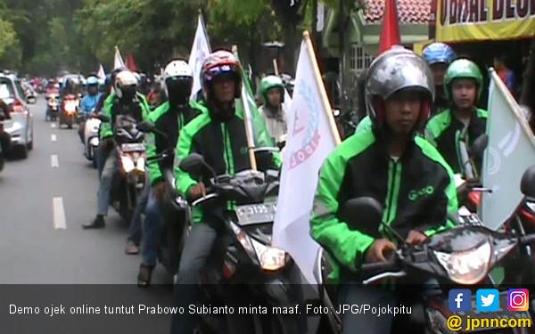 Ratusan Driver Ojek Online Minta Prabowo Minta Maaf