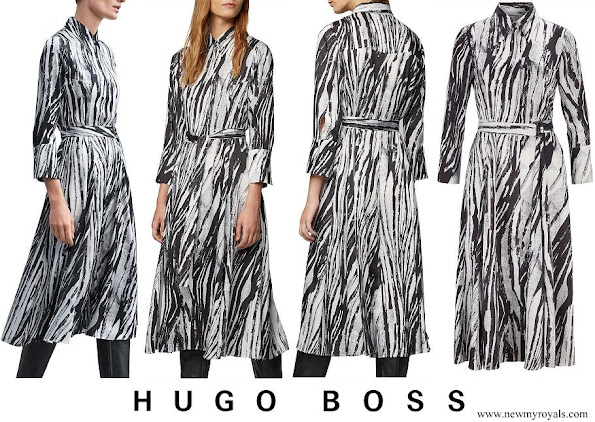 Queen Letizia wore Hugo Boss Danimala Belted midi shirt dress in zebra-print Italian twill