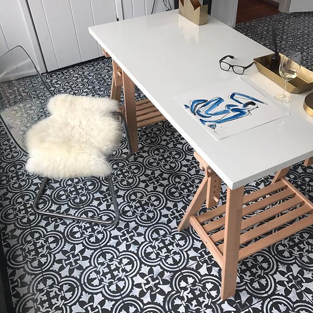 cement tile look with stencil