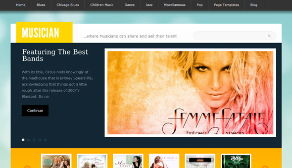 Musician Wordpress Theme Free Download by Templatic.