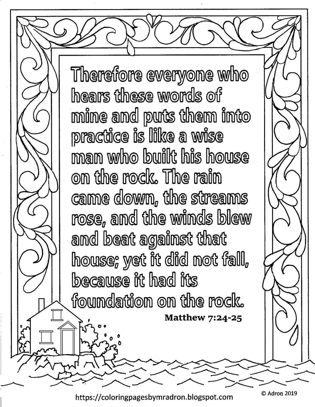 Coloring Pages for Kids by Mr  Adron: Free Matthew 7:24-25