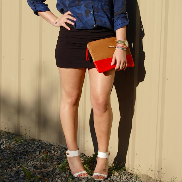 Zara camo blouse, black mini skirt, Topshop necklace, Old Navy bracelets, Tiffany bracelet and ring,Gap two-tone clutch and Topshop heels.