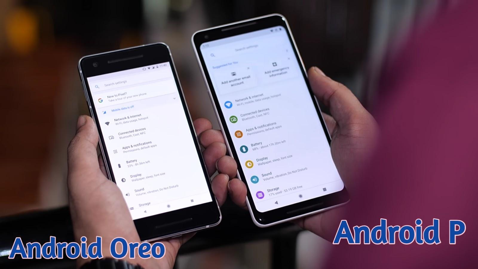 Android P's colored settings menu vs android oreo's blank settings menu
