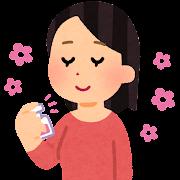 香水を使う人のイラスト(女性)
