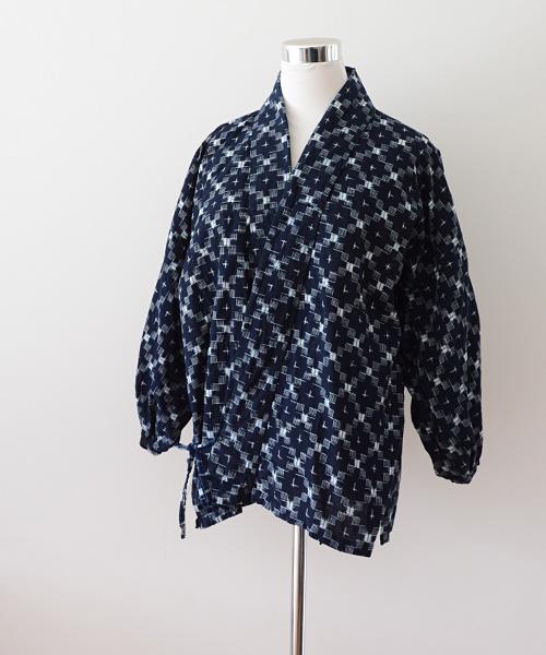 野良着 FUNS 藍染 絣 引っ張り ジャパンヴィンテージ 30~40年代 Noragi Jacket Japanese Vintage Aizome Kasuri Fabric 30~40s