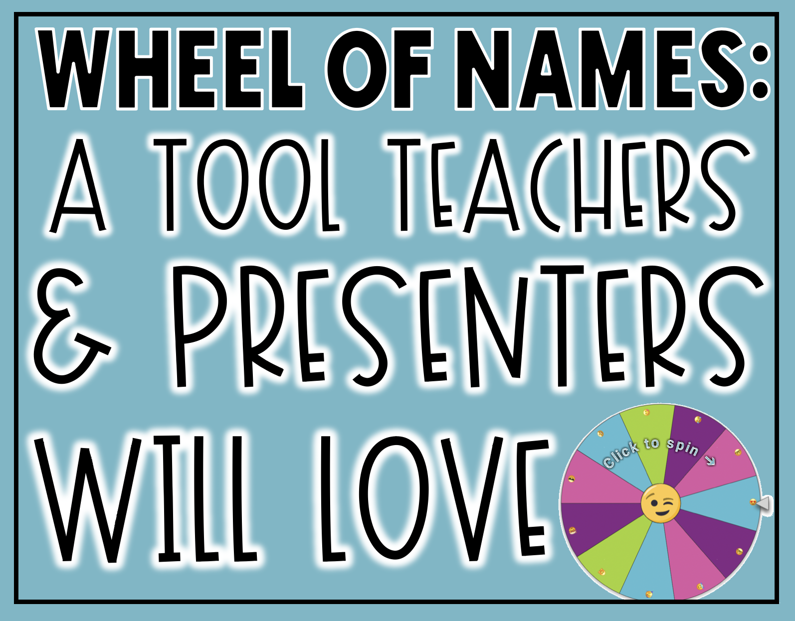 Wheel of Names: A Tool Teachers and Presenters Will LOVE for randomly selecting names, writing prompts, topics, and so much more! Presenters can use this tool to choose winners from tweets and surveys completed in Google Forms.