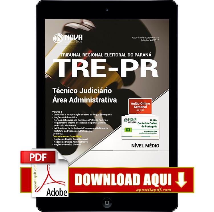 Apostila TRE PR 2017 PDF Download Técnico Judiciário