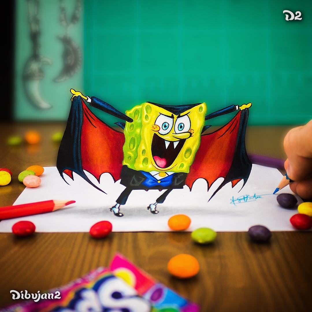13-Spongebob-Coun-Dracula-Miguel-Brito-3D-Illusions-with-Drawings-and-Illustration-www-designstack-co