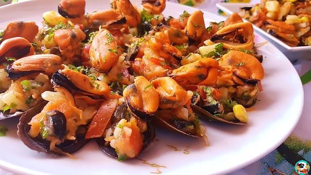 Mejillones con ensalada de papas