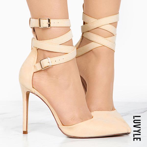 Plain Stiletto High Heeled Velvet Criss Cross Point Toe Date Peep-Toe Heels