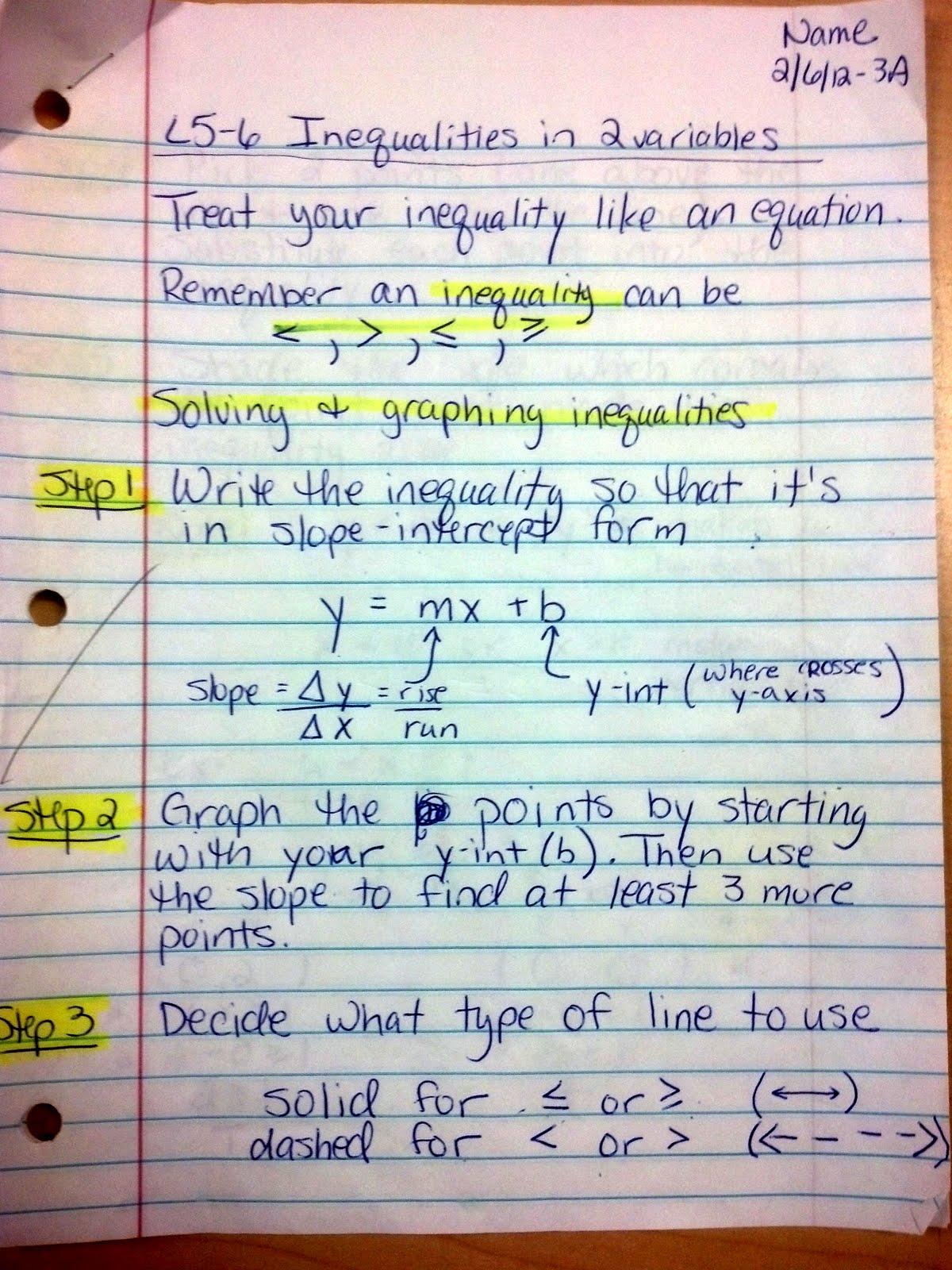Mrs Emery S Algebra Class Mod E Linear Inequalities