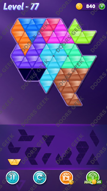 Block! Triangle Puzzle 10 Mania Level 77 Solution, Cheats, Walkthrough for Android, iPhone, iPad and iPod