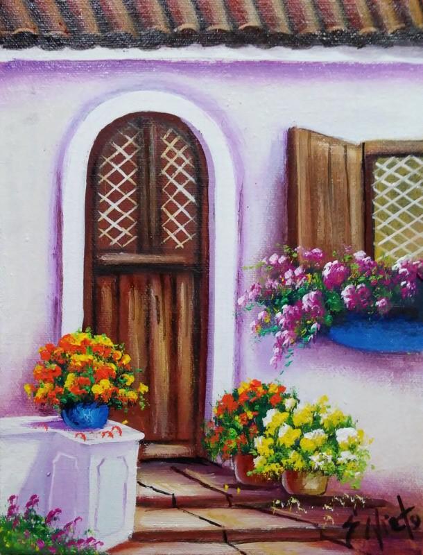 Cuadros modernos pinturas y dibujos cuadros de balcones for Modelos de balcones modernos para casas