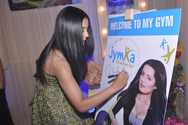 Celina Jaitley launching JYMKA- Family Fitness Club at Franschise India Show, Delhi