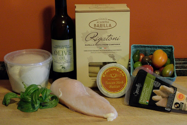 A picture of the ingredients needed for the Chicken Caprese Pasta.