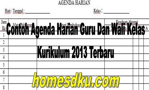 Contoh Agenda Harian Guru Dan Wali Kelas Kurikulum 2013 Terbaru