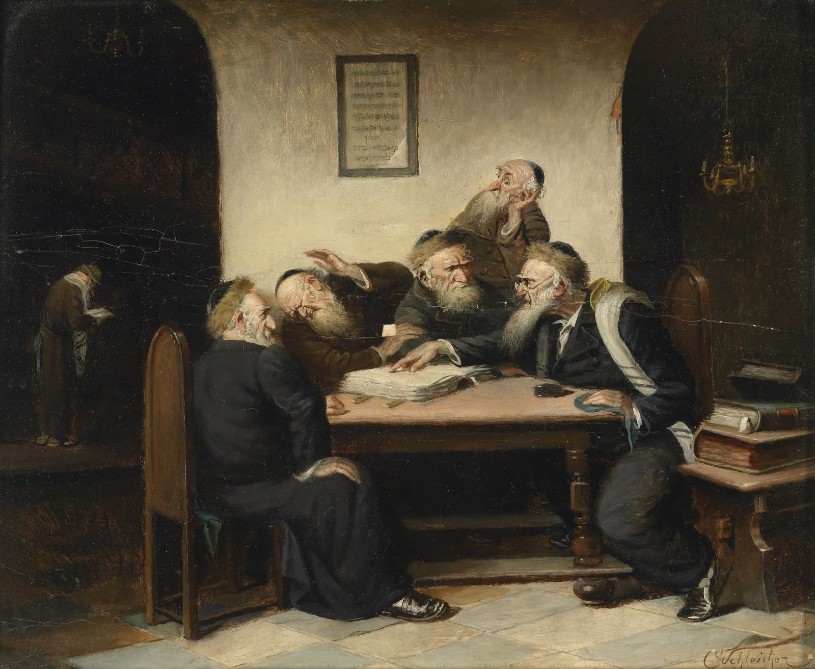 Eine Streitfrage aus dem Talmud (A Dispute over the Talmud), by Carl Schleicher (1825-1903), c. 1859.