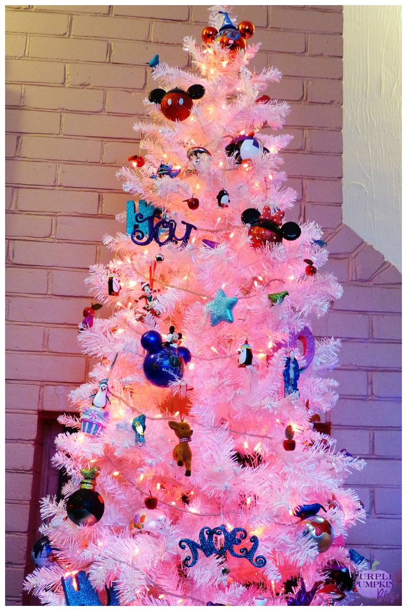 White christmas tree with purple decorations - My Christmas Decorations 2013 Edition