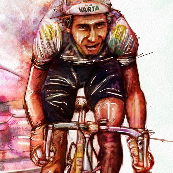 Ilustración de ciclista colombiano de los años ochenta
