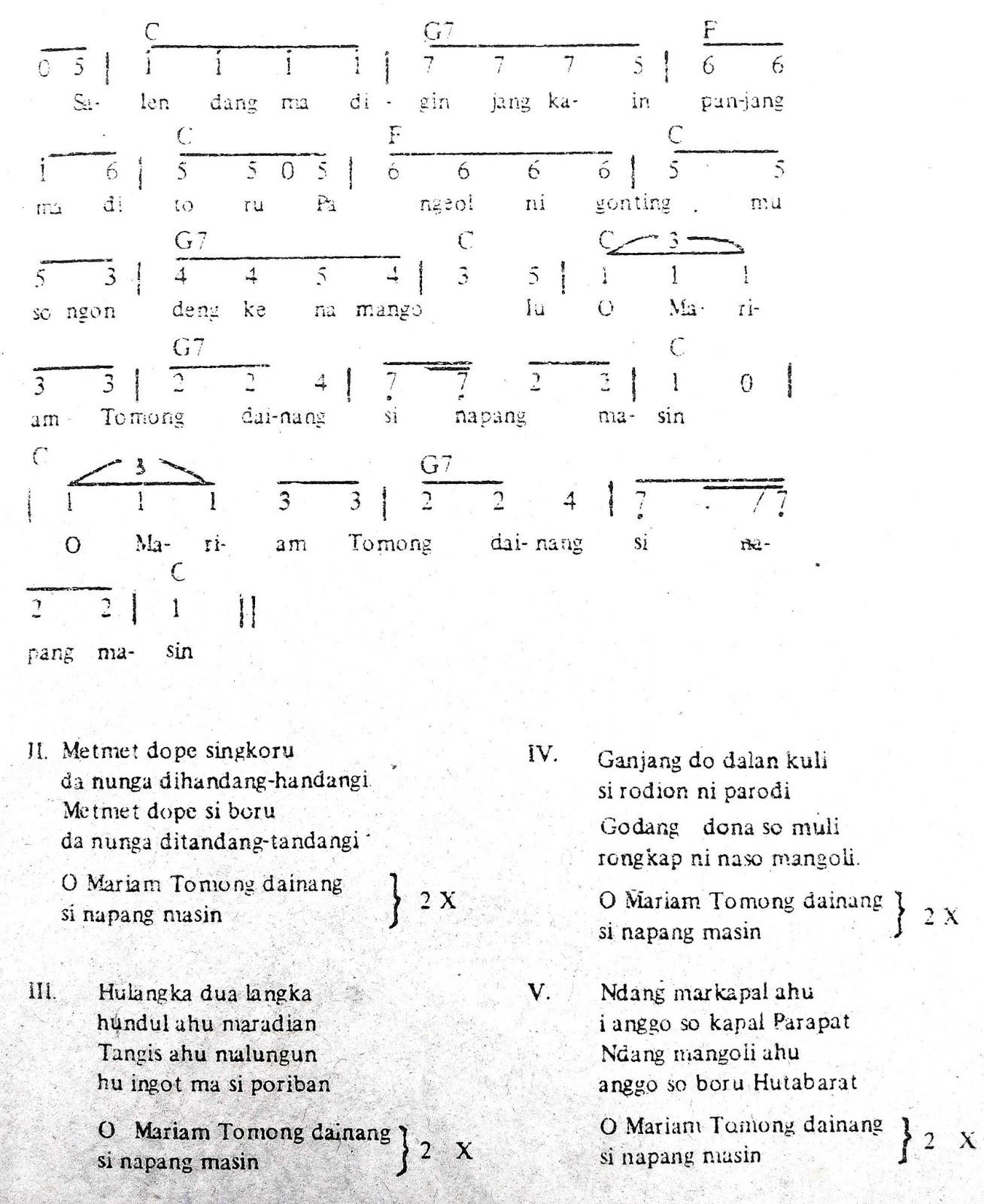 Chord & Arti Lirik Lagu Sumatera Utara: Mariam Tomong + Not Angka
