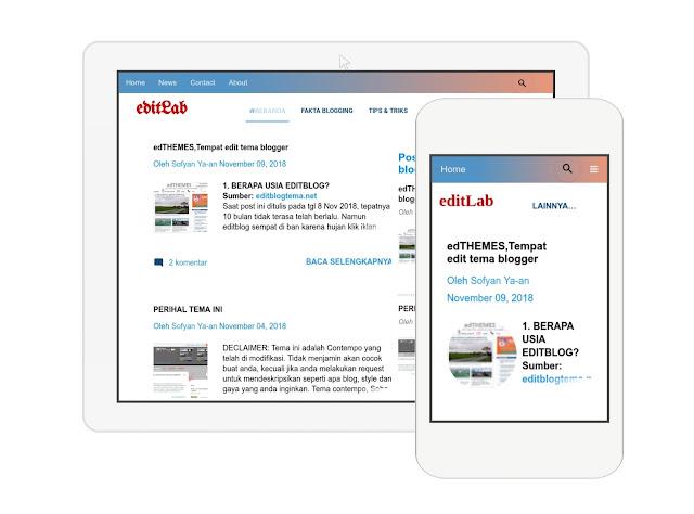 tampilan untuk tablet, ipad dan smarphone