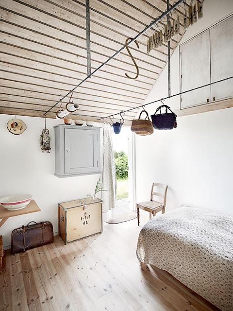 chambre à la décoration scandinave dans une maison de vacances au Danemark