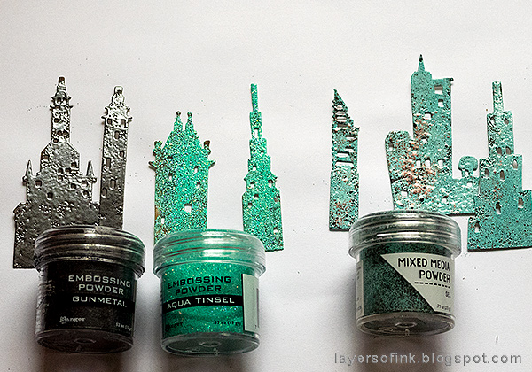 Layers of ink - Embossed Cityscape Tutorial by Anna-Karin Evaldsson, emboss the buildings with Ranger embossing powders.