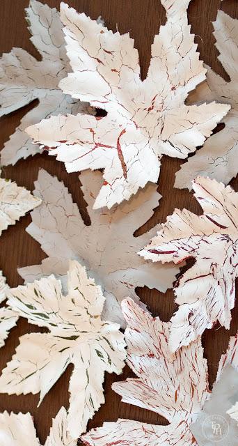 Dollar store leaves get the Elmer's glue crackled finish