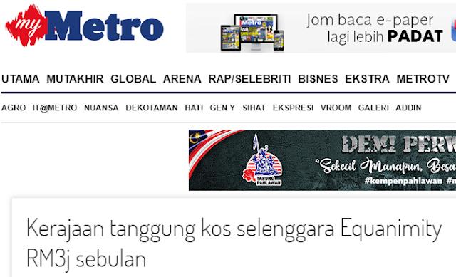 Kerajaan tanggung kos selenggara Equanimity RM3j sebulan