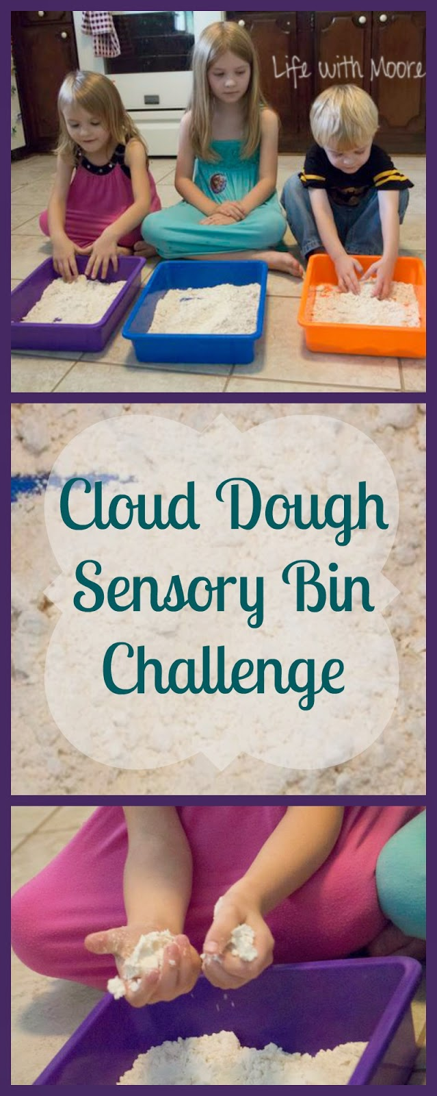 Cloud Dough (Flour and Oil) Sensory Bin Challenge