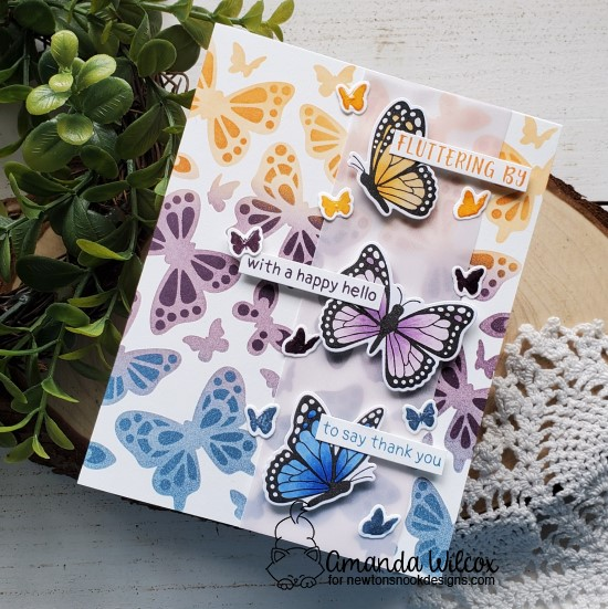 Butterfly Card by Amanda Wilcox | Monarchs Stamp Set and Butterflies Stencil Set by Newton's Nook Designs #newtonsnook #handmade