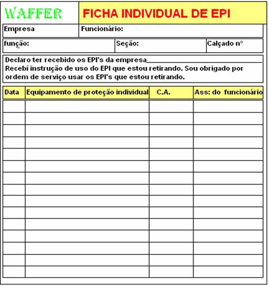 e72fffeb06d Modelo de Ficha de EPI