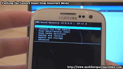 perform a factory reset of your Android smartphone form recovery mode