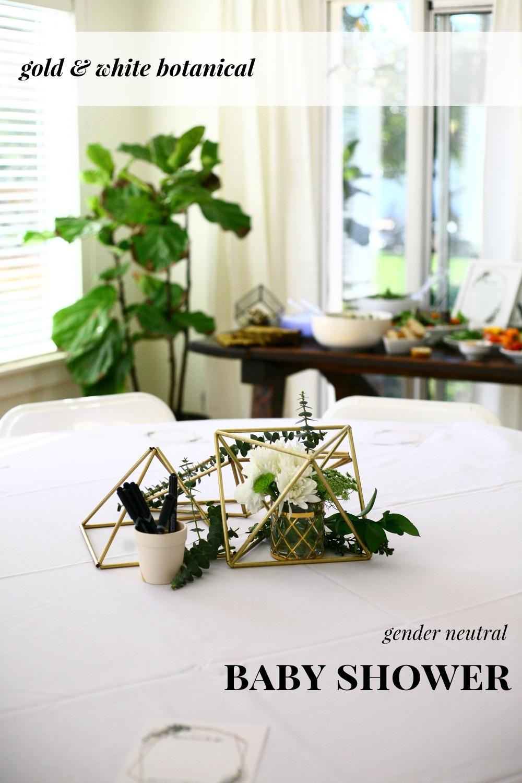 Gender Neutral Botanical Gold And White Baby Shower Create Enjoy