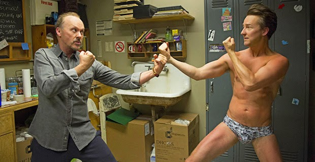Michael Keaton as Riggan Thomas and Edward Norton as Mike Shiner in Birdman, Directed by Mexican filmmaker Alejandro González Iñárritu, Oscar-winning film