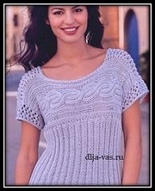 letnii pulover s korotkim rukavom svyazannii spicami so shemoi uzora i opisaniem vyazaniya.jpg