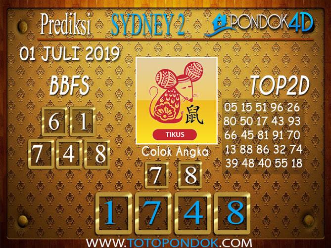 Prediksi Togel SYDNEY 2 PONDOK4D 01 JULI  2019
