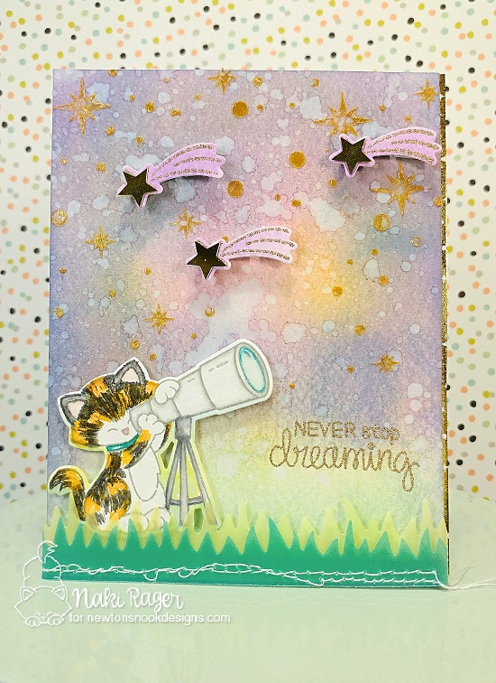 Cat with Telescope Space Card by Naki Rager | Cosmic Newton Stamp Set and Starfield Stencil by Newton's Nook Designs #newtonsnook