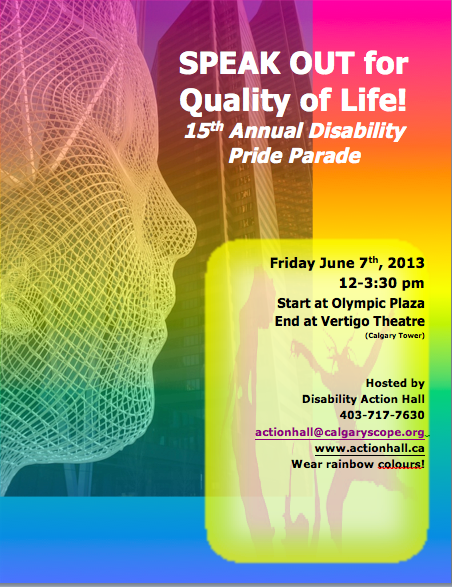 Speak Out Disability Pride Parade June 7 12-3:30 pm
