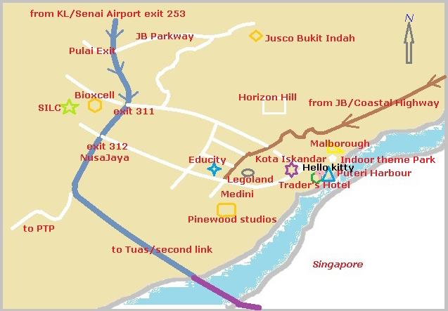 Map to Hello Kitty Johor