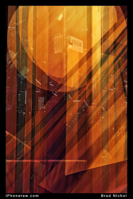 orange based abstract image, streaks and lines, based on window display in Ginza Japan.
