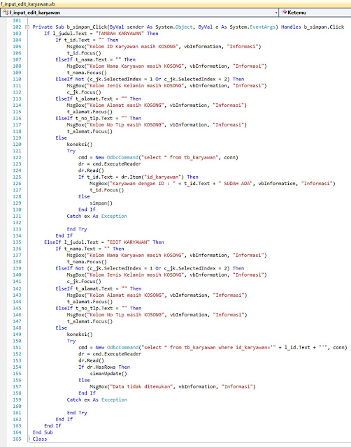 7 - Part6 Menciptakan Aplikasi Hotel Dengan Vb.Net + Database Mysql – Update Karyawan