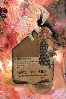 paper tag / bookmark made with vintage pattern girl, lace, and quote
