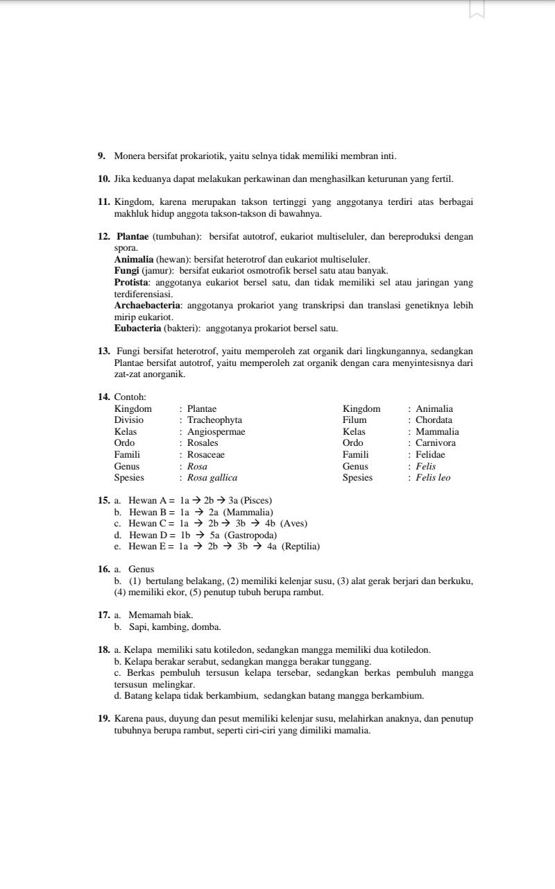 Xabili Indo Xabili Indo Kunci Jawaban Mandiri Biologi Kelas 10