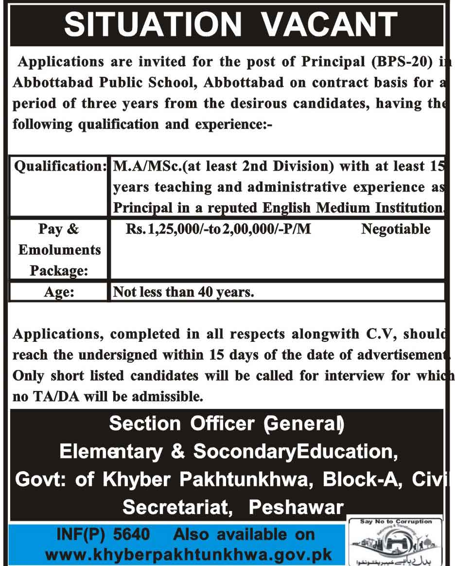 Principal Jobs In Elementary And Secondary Education Department PeshawarOctober 2017