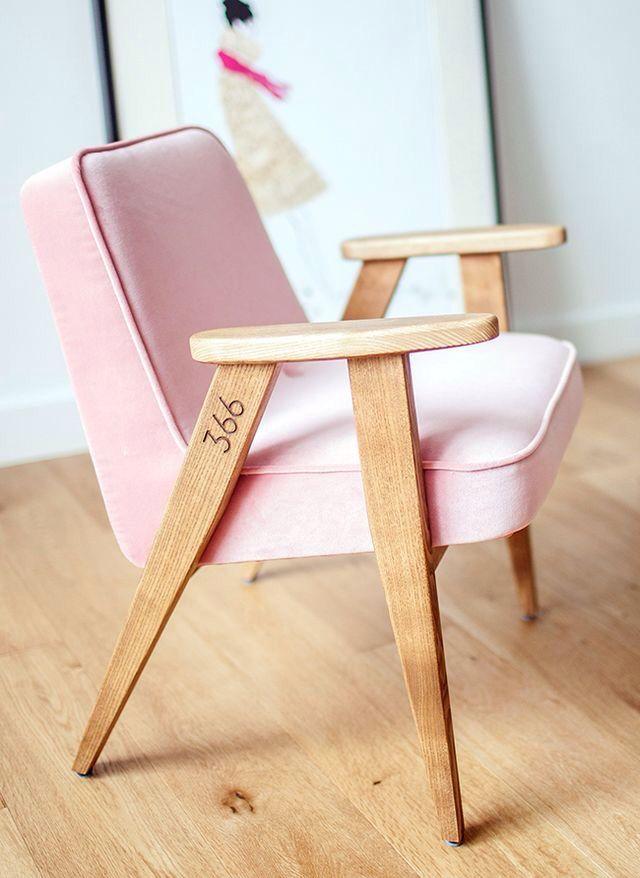 Sillón tapizado en rosa de joseph Chierowski Fauteuil 366 Ré-édition