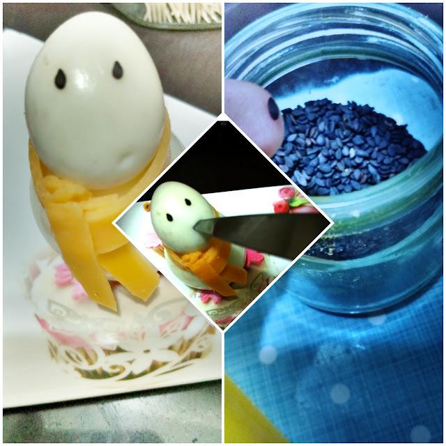 Semillas de sésamo y decoración de los huevos